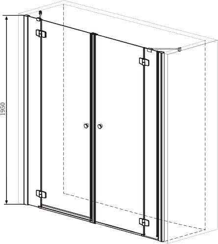 Sanotechnik - SMARTFLEX - Sprchové dvere do výklopného výklenku, 230 x 195 cm