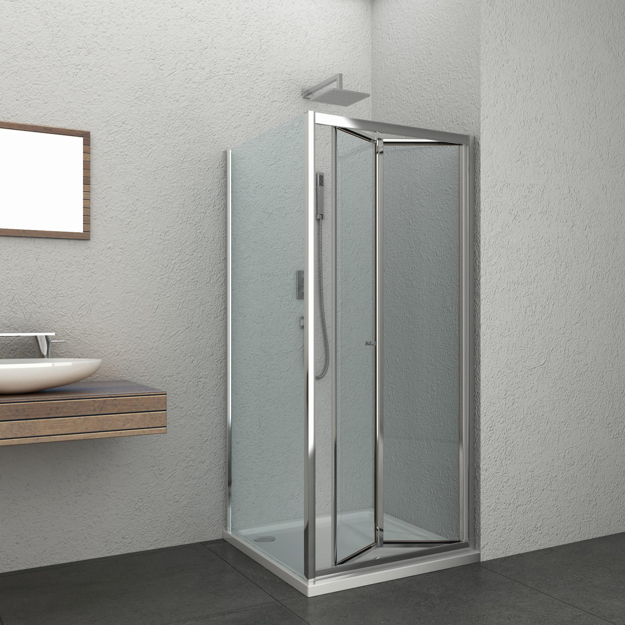 Sanotechnik - Sprchovací kút ELITE CHROME - hranatý, výklopné dvere 90 x 90 x 195 cm