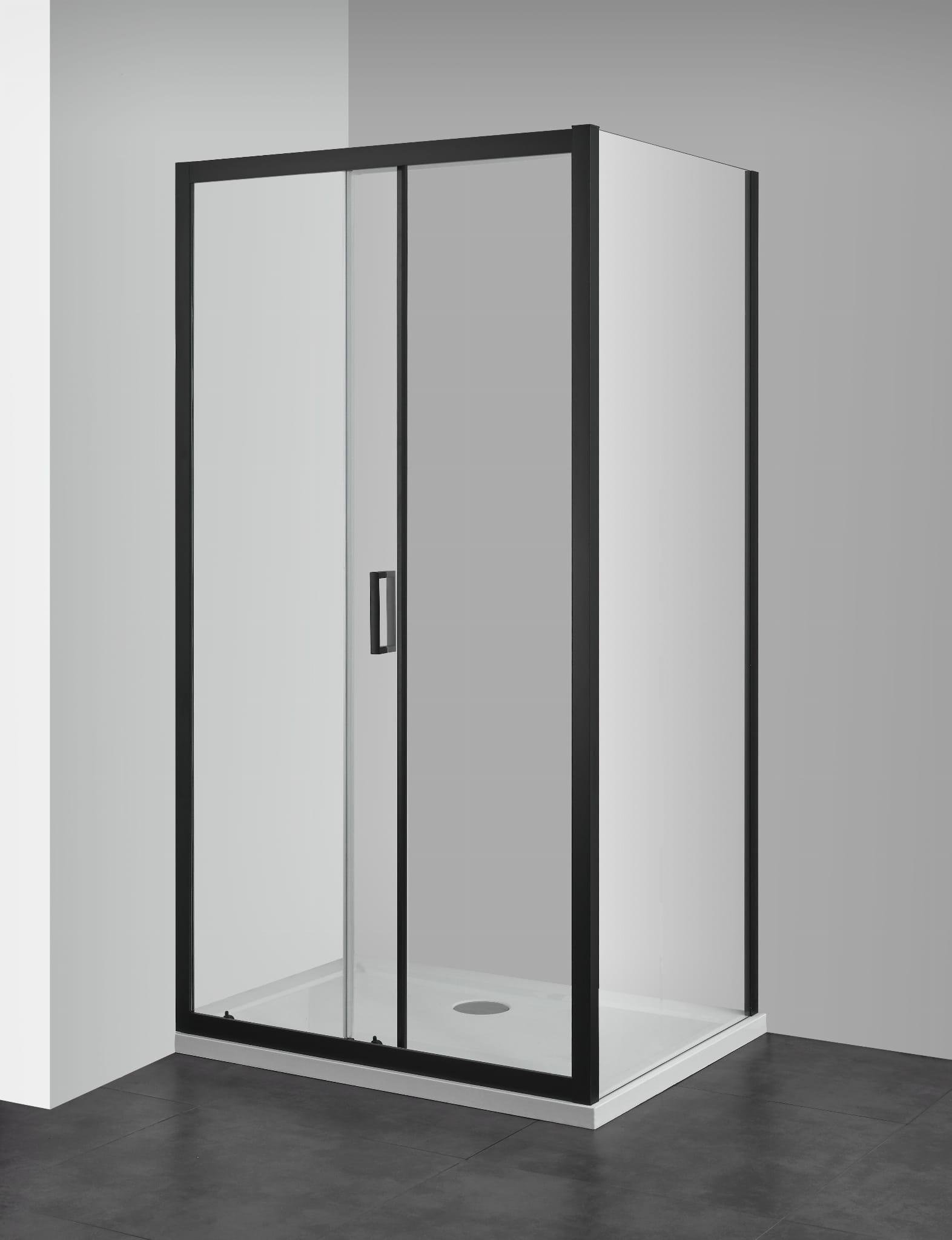 Sanotechnik - ELITE BLACK - Sprchovací kút, posuvné dvere 100 x 90 x 195 cm