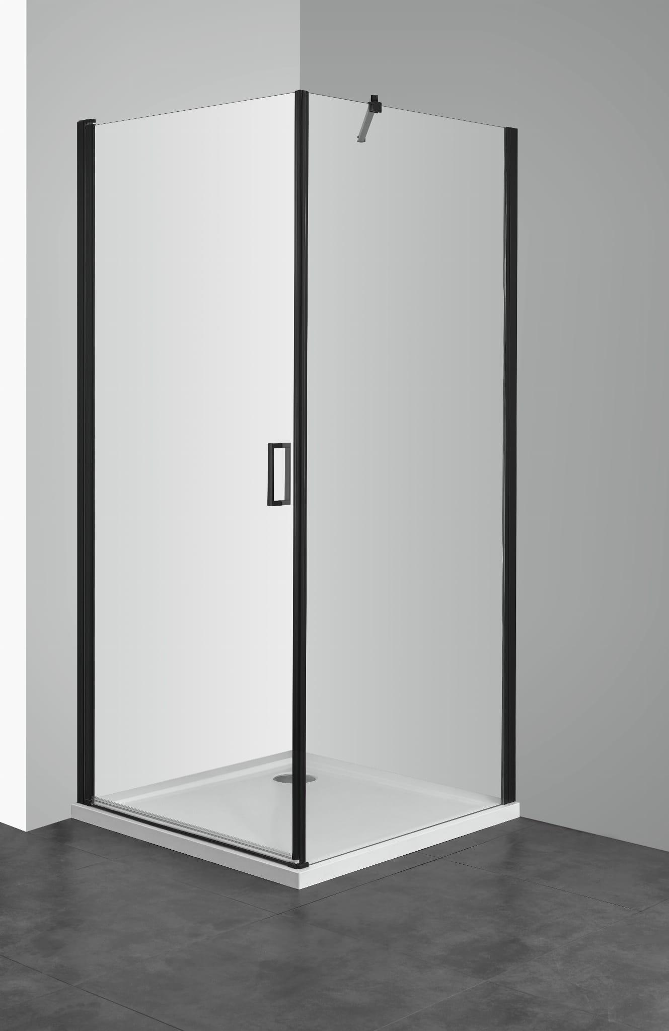 Sanotechnik - ELITE BLACK - Štvorcový sprchovací kút s krídlovými dverami 90 x 90 x 195 cm