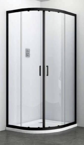 Sanotechnik - ELITE - čierny štvrťkruhový sprchovací kút, posuvné dvere 90 x 90 x 195 cm