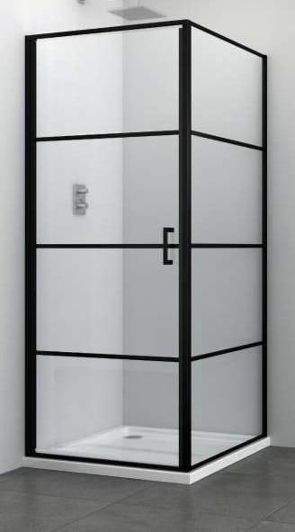 Sanotechnik - ELITE BLACK - Štvorcový sprchovací kút s krídlovými dverami 80 x 80 x 195 cm