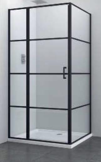Sanotechnik - ELITE BLACK - Obdĺžnikový sprchovací kút s krídlovými dverami 100 x 90 x 195 cm