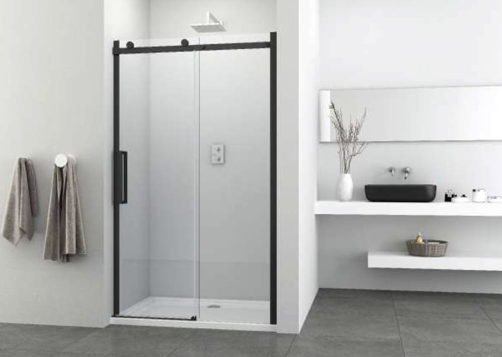 Sanotechnik - ELITE BLACK - Sprchové dvere do posuvného výklenku 140 x 195 cm