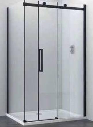 Sanotechnik - ELITE BLACK - Obdĺžnikový sprchovací kút s posuvnými dverami 140 x 90 x 195 cm
