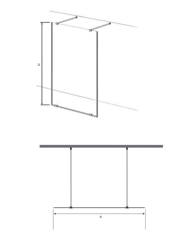 Sanotechnik - FREEDOM - Walk-in stena čierna 117 x 195 cm