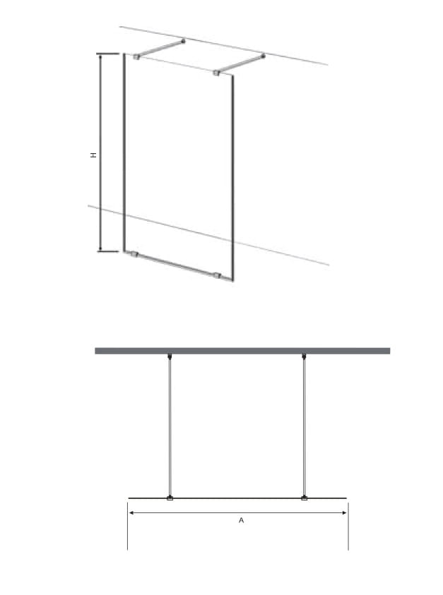 Sanotechnik - FREEDOM - Walk-in stena čierna 147x195 cm