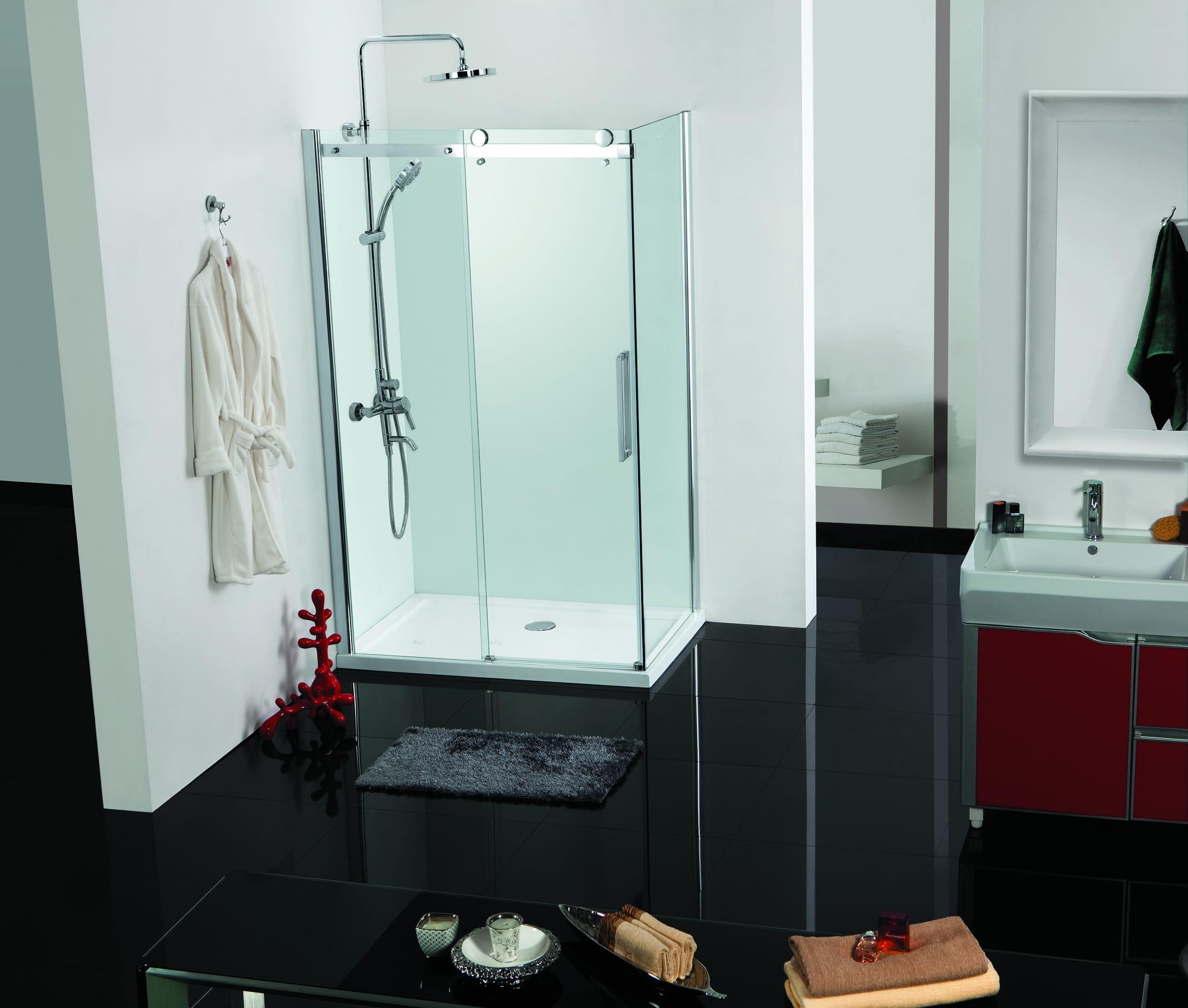 Sanotechnik - ELEGANCE - Rohový obdĺžnikový sprchový kút 140 x 90 x 195 cm