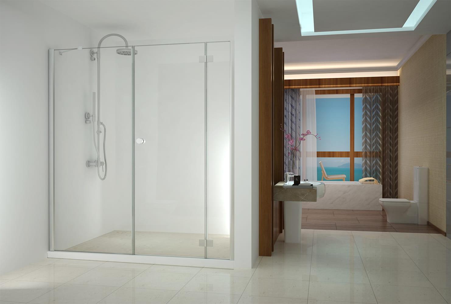 Sanotechnik - SMARTFLEX - Sprchové dvere do výklopného výklenku, pravé 210 x 195 cm