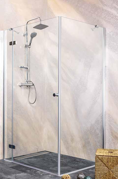 Sanotechnik - SYMPHONY - Rohový štvorcový sprchový kút, ľavý 90 x 90 x 195 cm