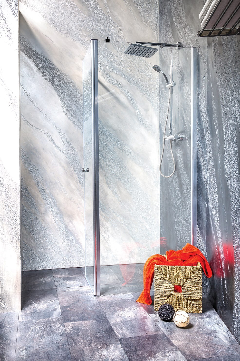 Sanotechnik - GRANDE - Rohový sprchovací kút, 120 x (70 - 120) cm, výška 195 cm