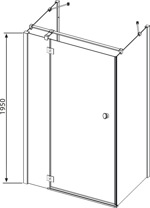 Sanotechnik - SMARTFLEX - Nástenný sprchový kút, obdĺžnikový, ľavý, 90 x 80 x 195 cm