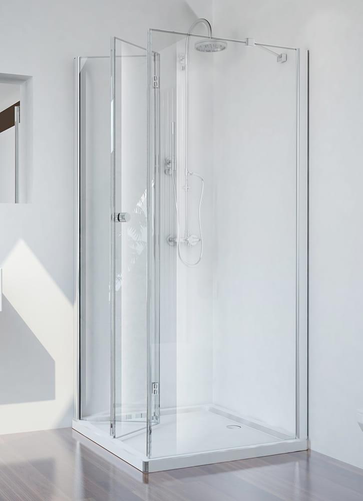Sanotechnik - SMARTFLEX - Rohový štvorcový sprchový kút, ľavý 80 x 80 x 195 cm