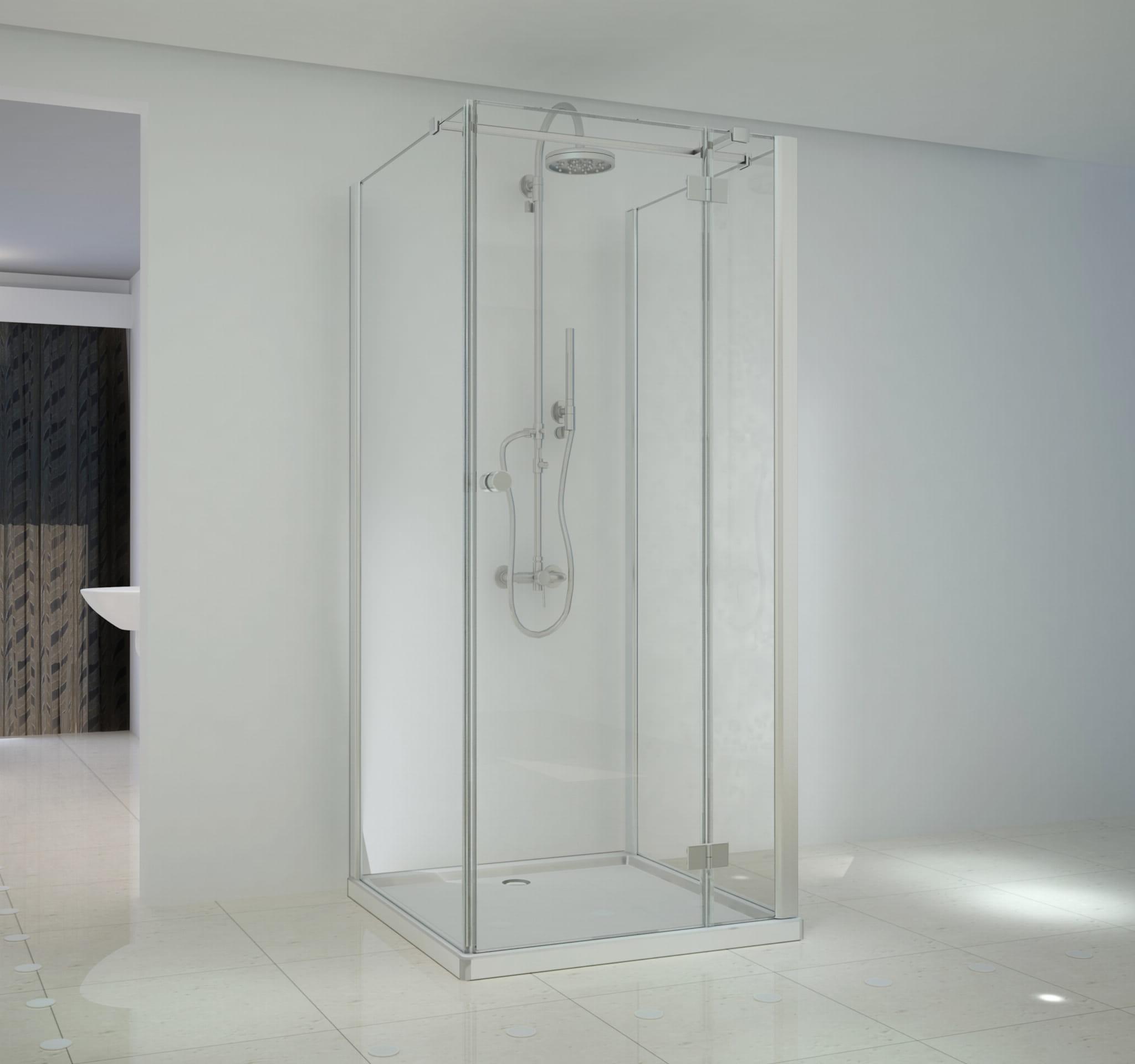 Sanotechnik - SMARTFLEX - Nástenný štvorcový sprchový kút, pravý 90 x 90 x 195 cm