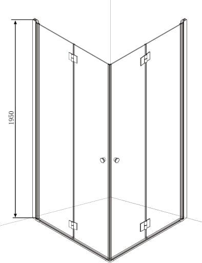 Sanotechnik - SMARTFLEX - Rohový obdĺžnikový sprchový kút 80 x 100 x 195 cm