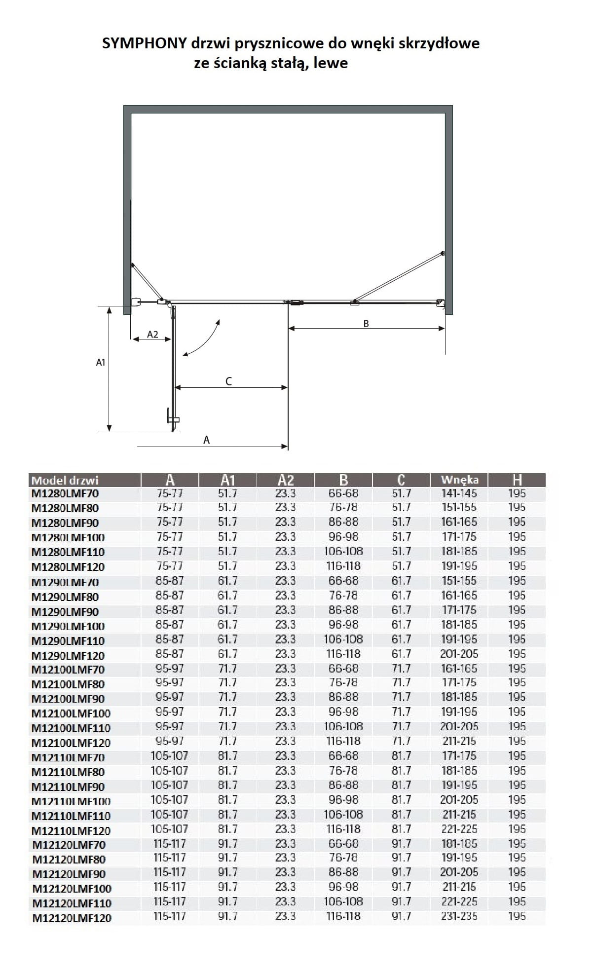Sanotechnik - SYMPHONY - Sprchové dvere do výklenku pre krídlo, ľavé 190 x 195 cm