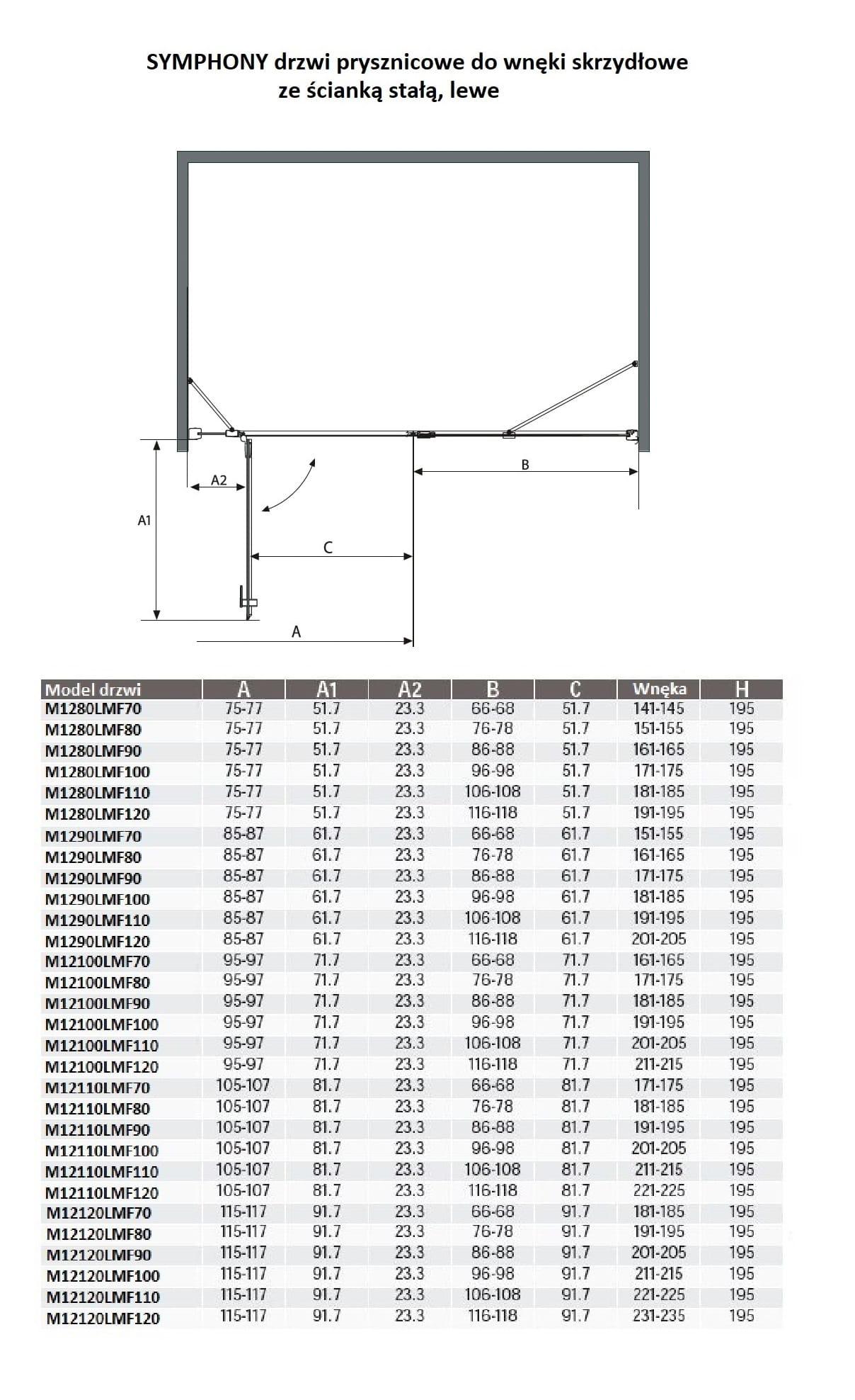 Sanotechnik - SYMPHONY - Sprchové dvere do výklenku pre krídlo, ľavé 160 x 195 cm