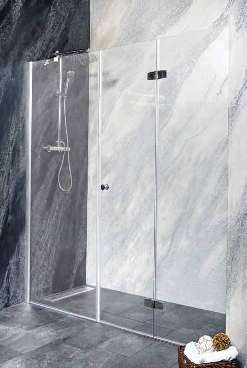 Sanotechnik - DUET - Sklopné sprchové dvere do výklenku, pravé 140 x 195 cm