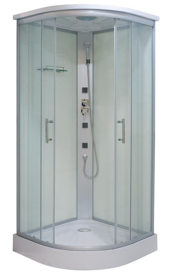 TANGO Polkruhový sprchovací kút s hydromasážou, 90x90x210 cm, číre sklo CL03