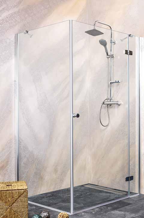 Sanotechnik - SYMPHONY - Rohový sprchový kút hranatý pravý 90 x 90 x 195 cm