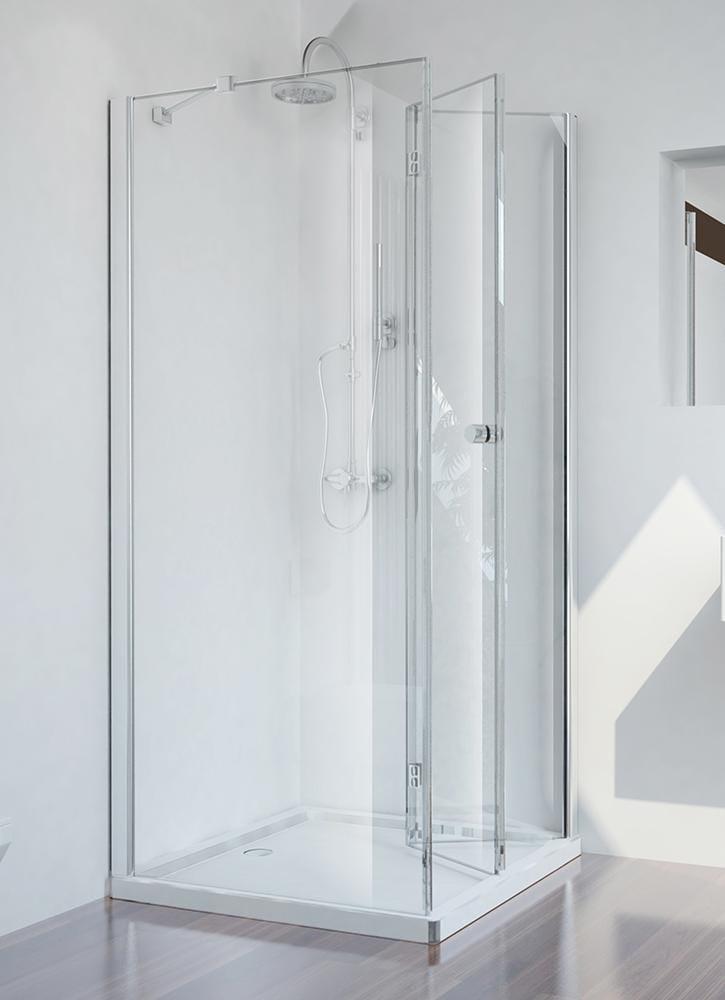 Sanotechnik - SMARTFLEX - Rohový štvorcový sprchový kút, pravý 80 x 80 x 195 cm
