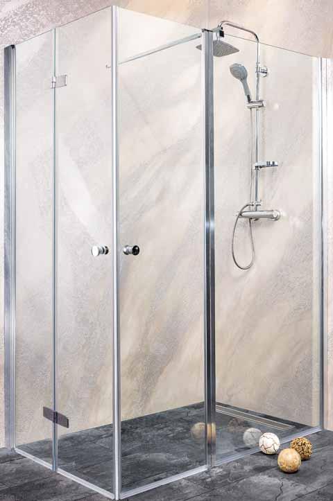 Sanotechnik - DUET - Rohový obdĺžnikový sprchový box, ľavé sklápacie a krídlové dvere 130 x 100 x 195 cm