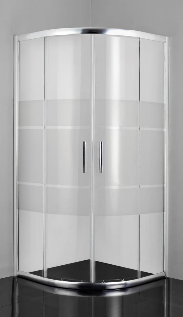 Sanotechnik - PRO-LINE - Rohový sprchovací kút so štvrť kruhovým okrajom 80 x 80 x 200 cm, sieťotlač