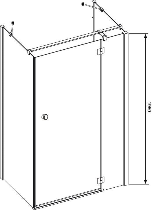 Sanotechnik - SMARTFLEX - Nástenný obdĺžnikový sprchový kút, pravý 100 x 80 x 195 cm pravý