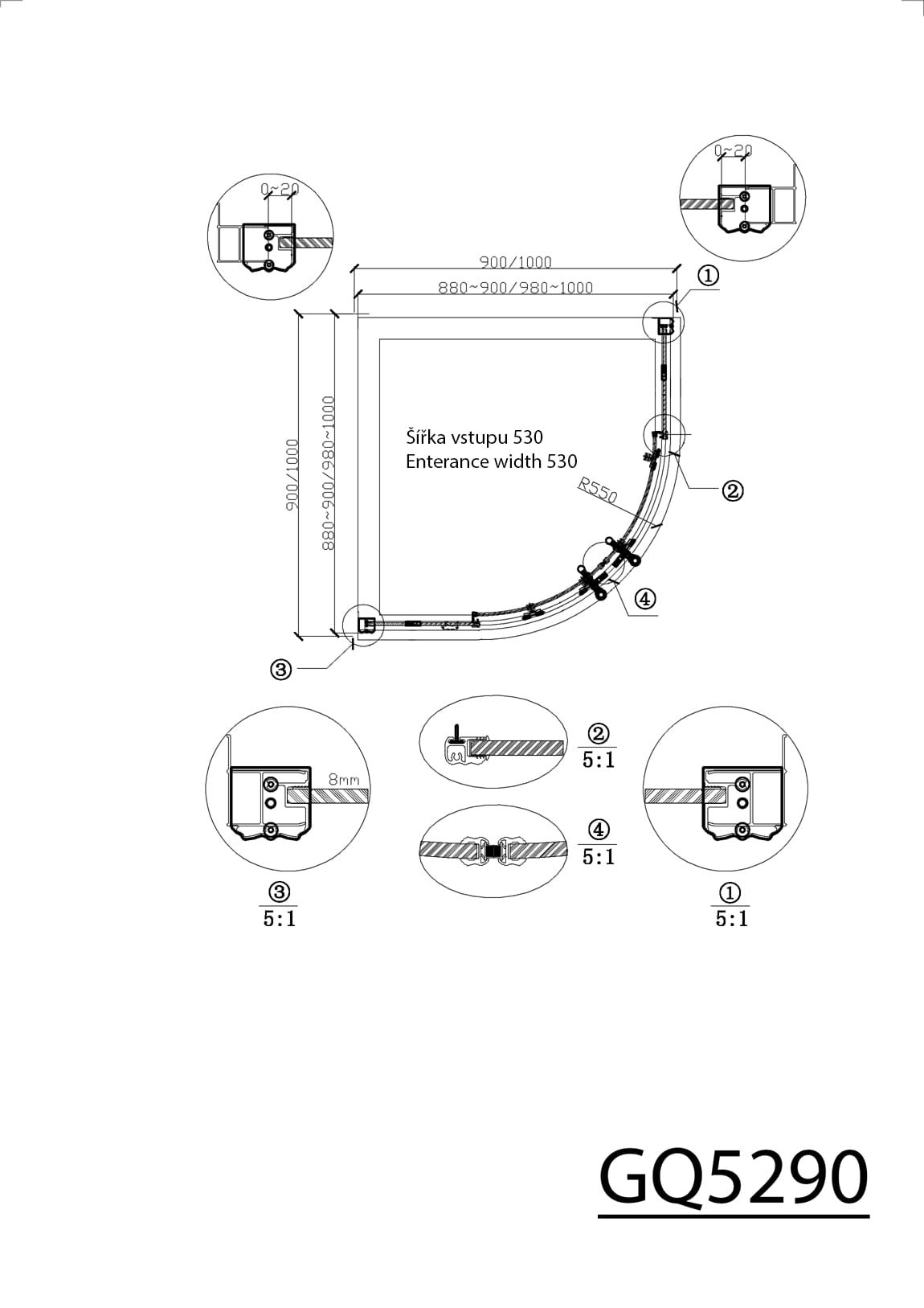 Antique Kabina Prysznicowa Narożna Półokrągła Kolor Brąz 90x90x190